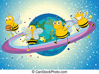 honey bees on saturn - illustration of a honey bees on ...