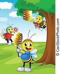 honey bees - illustration of a honey bees with honey under a...