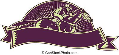 horse and jockey racing - illustration of a horse and jockey...