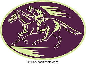 Horse and jockey racing side view done in woodcut style.