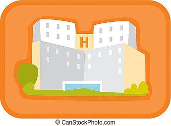 Illustration of a hospital building