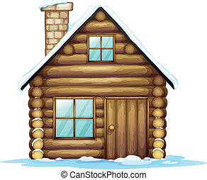 house - illustration of a house and ice on a white...
