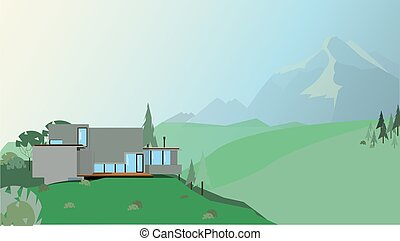illustration of a house in the mountains