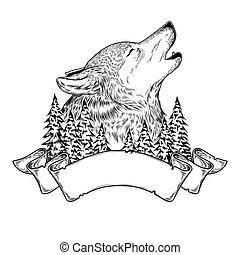 illustration of a howling wolf with ribbon