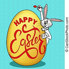 Illustration of a humorous picture on Easter. Rabbit paints an egg with a greeting.