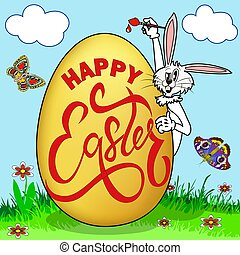 Illustration of a humorous picture on Easter. Rabbit paints an egg with a greeting in a clearing with butterflies.