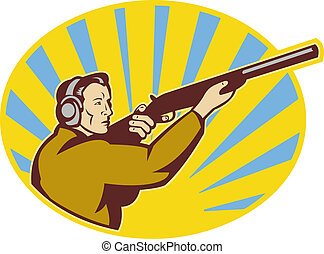Hunter aiming rifle shotgun side view - illustration of a...