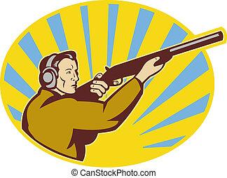 illustration of a Hunter aiming rifle shotgun side view