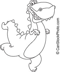 hurry dinosaur outlined