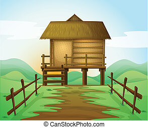 a hut - illustration of a hut in a beautiful nature