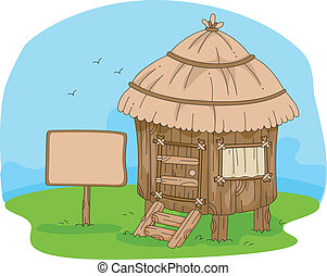 Illustration of a Hut in the Middle of a Field