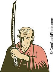 japanese samurai warrior looking up holding a sword