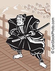 Japanese Samurai warrior sword on bridge
