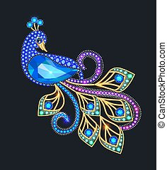 Illustration of a jewelry peacock brooch with precious stones.