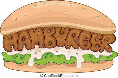 Hamburger - Illustration of a Juicy Hamburger