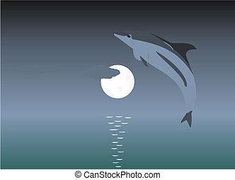 Illustration of a jumping dolphin over a moonlight