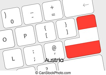 Keyboard with the Enter button being the Flag of Austria