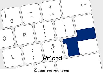 Keyboard with the Enter button being the Flag of Finland