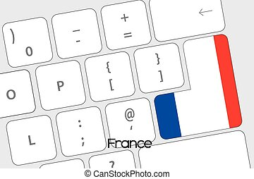 Keyboard with the Enter button being the Flag of France