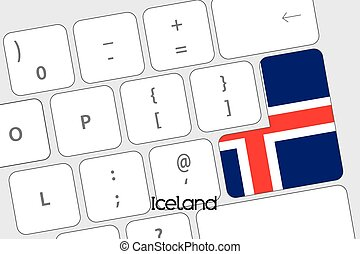 Keyboard with the Enter button being the Flag of Iceland - ...