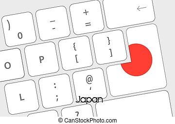 Keyboard with the Enter button being the Flag of Japan