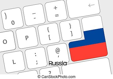 Keyboard with the Enter button being the Flag of Russia