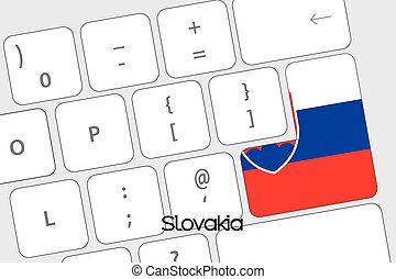 Keyboard with the Enter button being the Flag of Slovakia