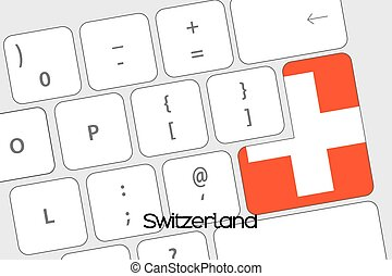 Keyboard with the Enter button being the Flag of Switzerland