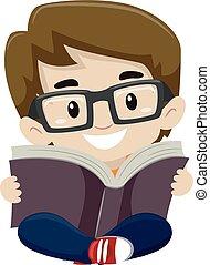 Kid Boy Reading a Book