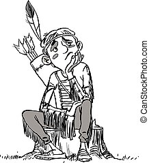 Illustration of a Kid Boy Thinking. A boy dressed as Indian.