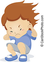 Kid Covering His Ears - Illustration of a Kid Covering His ...