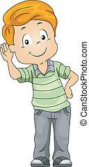 Illustration of a Kid Demonstrating His Sense of Hearing