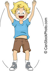 Illustration of a Kid Doing Jumping Jacks
