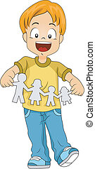 Paper Cutout - Illustration of a Kid Holding a Paper Cutout