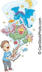 Illustration of a Kid Holding a Pop Up Book