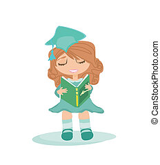 Illustration of a Kid Holding Her Diploma - Illustration of...