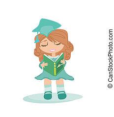 Illustration of a Kid Holding Her Diploma - Illustration of...