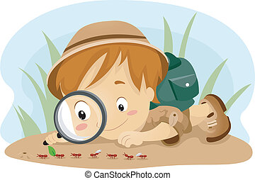 Illustration of a Kid Observing Ants