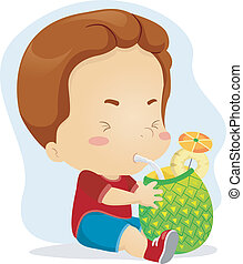 Pineapple Juice - Illustration of a Kid Sipping Pineapple ...