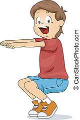 Kid Squatting - Illustration of a Kid Squatting