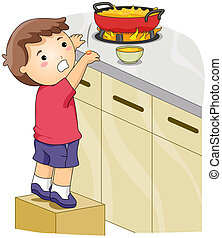 Illustration of a Kid Whose Hands Got Accidentally Burned