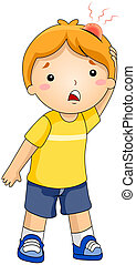 Bump - Illustration of a Kid with a Bump on His Head