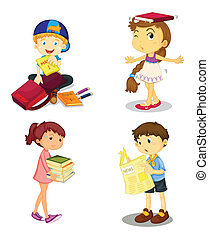 kids and books - illustration of a kids and books on white ...