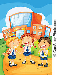 kids infront of school building - illustration of a kids...
