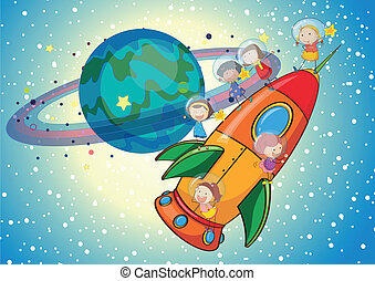 kids on a rocket