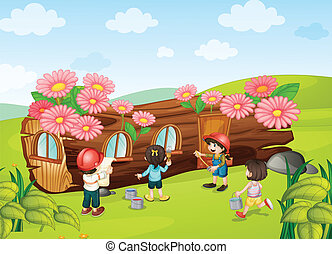 kids painting wooden house - illustration of a kids painting...