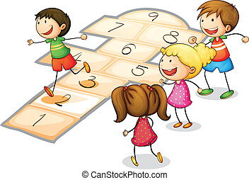 kids playing  - illustration of a kids playing a number game