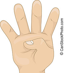 Illustration of a Kids's Hand Showing Four Hand Count