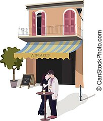 Illustration of a Kissing Couple in Street Cafe