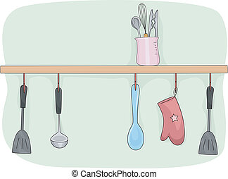 Illustration of a Kitchen Shelf Filled with Cooking Tools